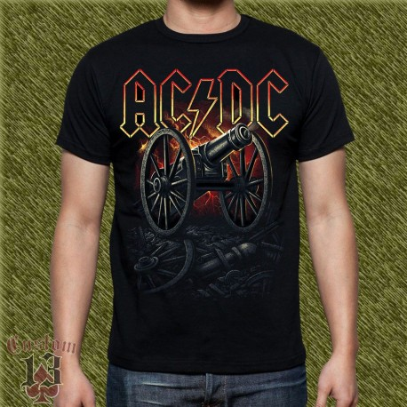 Camiseta negra, AC-DC, cañón for those about to rock