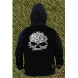 Sudadera con capucha, harley skull, letras