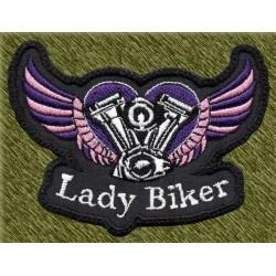Parche bordado, lady biker