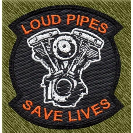 Parche bordado, loud pipes, save lives