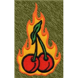 Parche bordado, cerezas con llamas