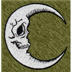 Parche bordado, luna calavera