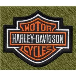 Parche bordado, harley davidson logo con borde blanco