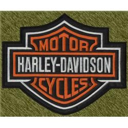 parche bordado para espalda, harley davidson logo con borde blanco