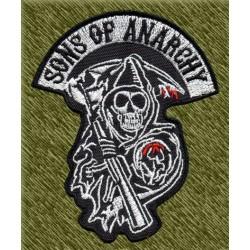 Parche bordado, sons of anarchy con forma