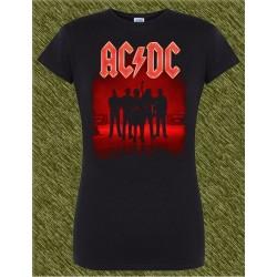 Camiseta negra de mujer, ac dc power up, banda