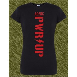 Camiseta negra de mujer, ac dc power up, letras