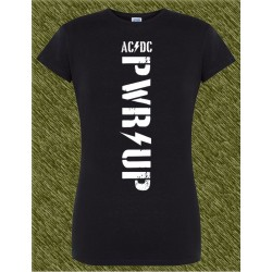 Camiseta negra de mujer, ac dc power up, letras blancas