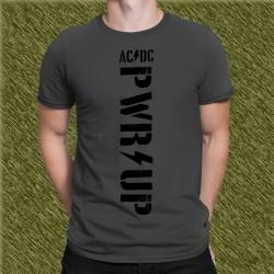 Camiseta gris grafito, ac dc power up, letras negras