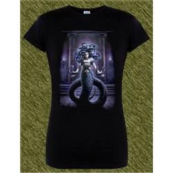 Camiseta negra de mujer, medusa