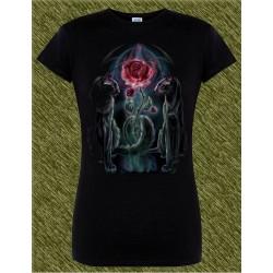 Camiseta negra de mujer, el amor del gato