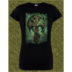 Camiseta negra de mujer, dragón en la cruz