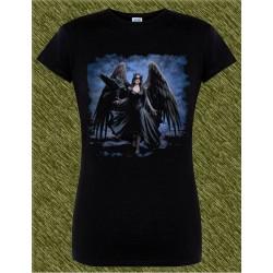 Camiseta negra de mujer, ángel caído con cuervo