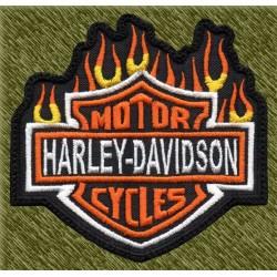 Parche bordado, harley davidson fuego