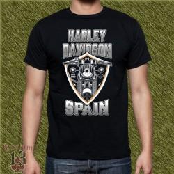 Camiseta negra, harley spain