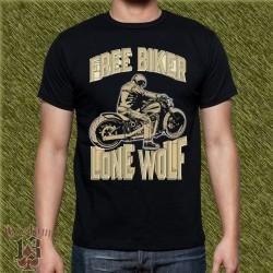 Camiseta negra, free biker, lone wolf