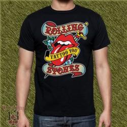 Camiseta negra, the rolling stones, tattoo you
