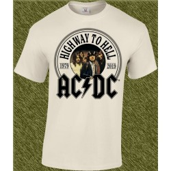 Camiseta beig, ac-dc, highway to hell