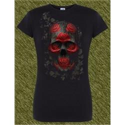 Camiseta negra de mujer, calavera con rosas rojas