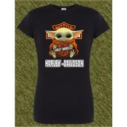Camiseta negra de mujer, baby yoda harley