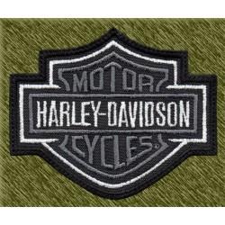 Parche bordado, harley davidson logo gris con borde blanco
