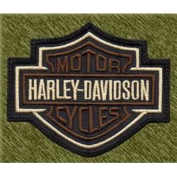Parche bordado, harley davidson logo marrón con borde blanco